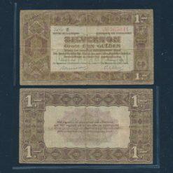 Nederland 1920 1 Gulden Zilverbon 1 Letter Fraai -