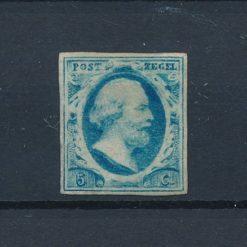 Nederland 1852 Koning Willem III 5 cent blauw NVPH 1 Ongebruikt