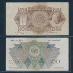 Nederland 1947 100 Gulden Meisjeskop Bankbiljet Zeer fraai