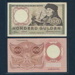Nederland 1953 100 Gulden Erasmus Bankbiljet Zeer fraai