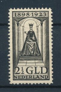 Nederland 1923 25 jarig Regeringsjubileum Koningin Wilhelmina 2,5 gulden NVPH 130 Postfris
