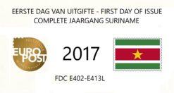 Suriname 2017 Complete jaargang Eerste Dag Enveloppen