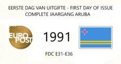 Aruba 1991 Complete jaargang Eerste Dag Enveloppen