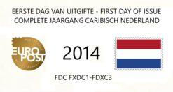Caribisch Nederland 2014 Complete jaargang Eerste Dag Enveloppen