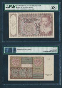 Nederland 1943-1944 25 Gulden Prinsesje bankbiljet roodbruin vrijwel UNC - Graded PMG 58 EPQ