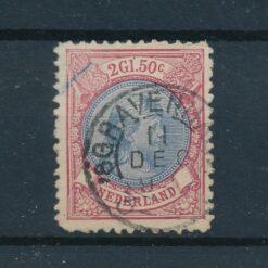 Nederland 1893 Prinses Wilhelmina 2,5 Gulden wijnrood en lichtblauw NVPH 47A Gestempeld