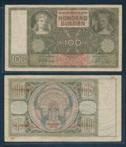 Nederland 1930 100 Gulden Luitspelende vrouw bankbiljet Zeer Fraai