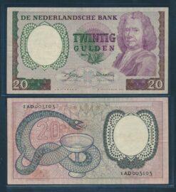Nederland 1955 20 Gulden Boerhaave bankbiljet Zeer Fraai plus