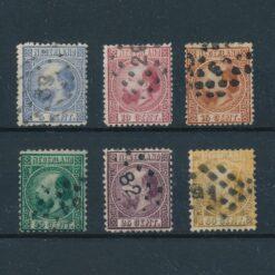 Nederland 1867 Koning Willem III 5 tot en met 50 cent Complete serie NVPH 7-12 Gestempeld