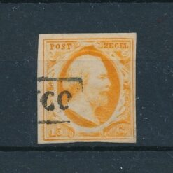 Nederland 1852 15 cent donker tot geel oranje NVPH 3 Gestempeld
