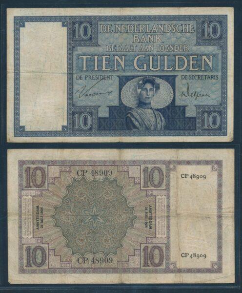 Nederland 1924 10 Gulden Zeeuws meisje bankbiljet Fraai 1