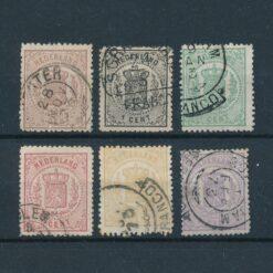 Nederland 1869 Wapenzegels 0,5 tot en met 2,5 cent Complete serie NVPH 13-18 Gestempeld