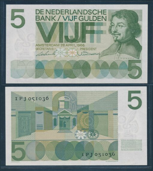 Nederland 1966 5 Gulden Vondel bankbiljet vrijwel UNC 1
