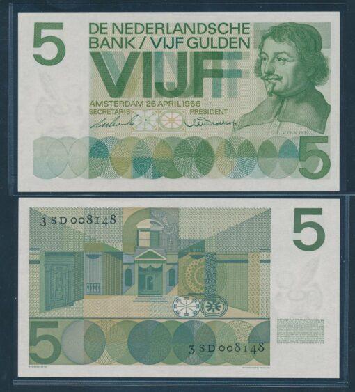 Nederland 1966 5 Gulden Vondel bankbiljet UNC 1
