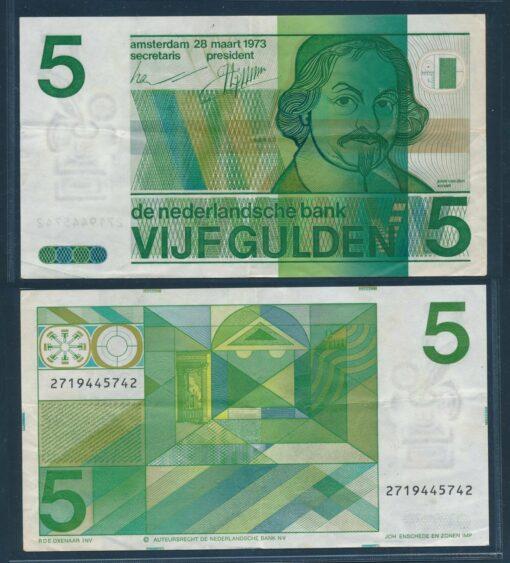 Nederland 1973 5 Gulden Vondel bankbiljet uit proefserie op formalineloos papier