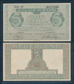 Nederland 1944 5 Gulden Zilverbon  Pracht plus