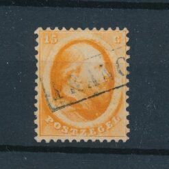 Nederland 1864 15 cent oranje NVPH 6 Gestempeld