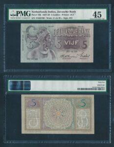 Nederland Indie 1937-1939 5 Gulden Pracht - Graded PMG 45 EPQ