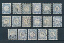 Nederland 1912-1920 Complete serie portzegels NVPH P44-P60 Gestempeld