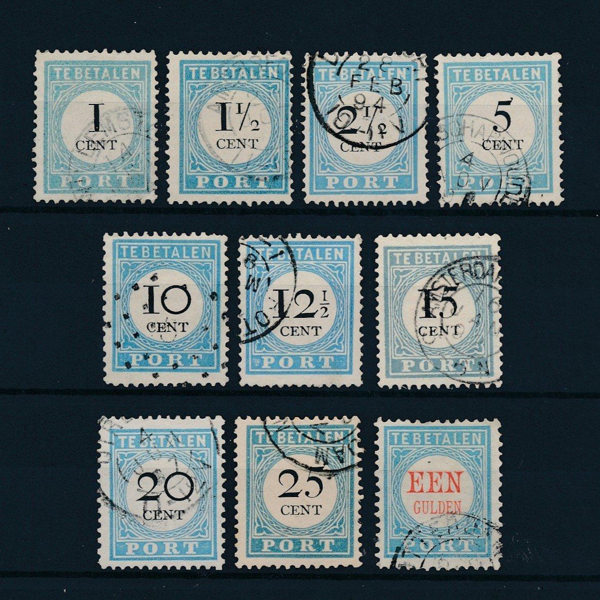 Nederland 1881-1887 Portzegels NVPH P3-P12 Gestempeld