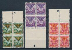 Nederland 1925 Kinderzegels in blokken van 4 met knipteken NVPH R71-R73 Postfris ZELDZAAM