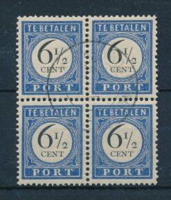 Nederland 1894-1910 Port 6,5 cent in blok van 4 NVPH P20 Gestempeld