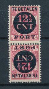 Nederland 1924 12,5 cent Keerdruk Tete-beche zonder tussenstrook P68a Postfris