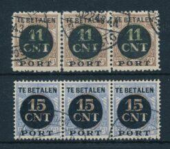 Nederland 1924 Post Pakket-Verrekenzegels in horizontale strip van 3 NVPH PV1-PV2 Gestempeld